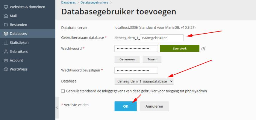 Een database gebruiker toevoegen via PLESK