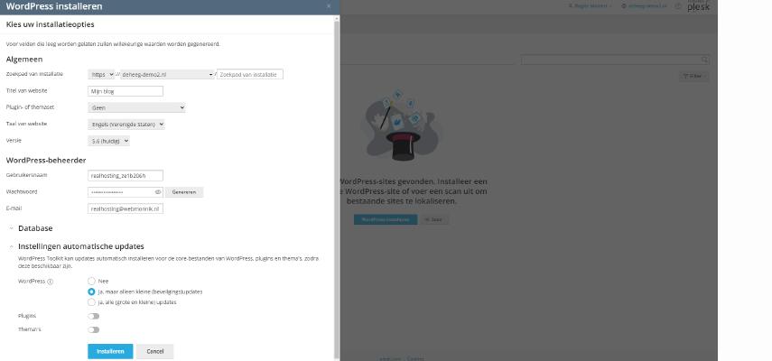 wordpress installeren via de WordPress Toolkit