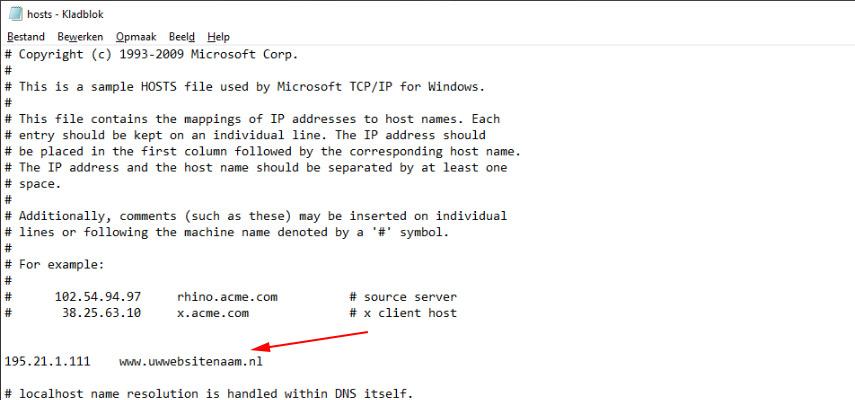 De hosts file aanpassen op een PC
